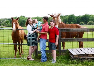 Texas family with their horses